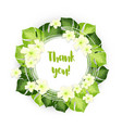 thank you circle frame of green leaves with white vector image vector image