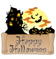 theme with happy halloween banner 1 vector image