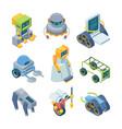 toy robots helpers isometric set miniature vector image vector image