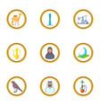 uae symbols icons set cartoon style vector image vector image