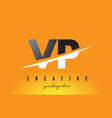 vp v p letter modern logo design with yellow vector image vector image