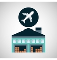 warehouse building airplane transport vector image vector image