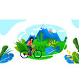 woman riding bike having rest on mountain valley vector image