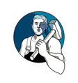 trade unionist with hammer drawing vector image