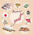 set of national profile of the japan vector image