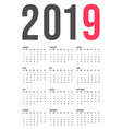 2019 year calendar template minimal pocket square vector image