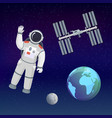 astronaut in cosmos space suit salutes on the vector image