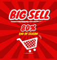 big sell promotion with price tag vector image vector image