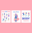 cartoon feminism concept posters card set vector image vector image