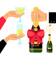champagne bottle and drinking glasses vector image vector image