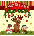 Christmas card with Santas helpers cute team vector image vector image