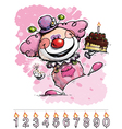 Clown Carrying a Girls Birthday Cake vector image vector image