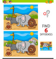 differences game with safari animal characters vector image vector image
