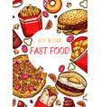 fast food restaurant fastfood sketch poster vector image vector image