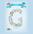 floral letter g with blue ribbon and three doves vector image vector image