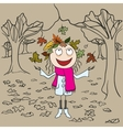 Girl in park throws autumn leaves Autumn vector image