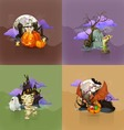 halloween concepts set backgrounds vector image