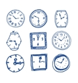 Hand drawn clocks vector image vector image