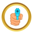 Hand pointing with the gun icon vector image