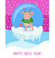 happy new year postcard with pig in green sweater vector image vector image