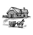 ink sketch country house and horse with cart vector image