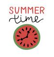 inscription with hand lettering summer time and vector image