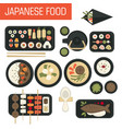 japanese food sushi and seafood fish and green tea vector image