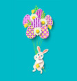 papercut easter card with rabbit eggs vector image