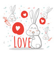 patterncute cartoonrabbitlovecreative hand drawn vector image vector image