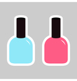 Pink blue nail polish varnish sticker icon set vector image vector image