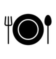 plate fork and spoon icon restaurant cutlery vector image