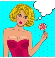 Pretty pop art girl with candy vector image vector image