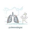 pulmonologist with light smoker vector image vector image