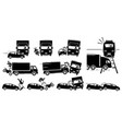 road accident and vehicle crash collision icons vector image vector image