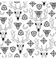seamless featuring deer skull and scandinavian vector image