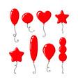 set bright red cartoon air balloons vector image vector image