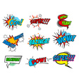 set comic text pop art style phrases vector image