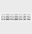 set of black infinity symbols and signs vector image