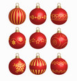 set of red christmas balls vector image vector image
