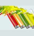 set of splashing juice glasses on transparent vector image