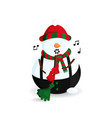 singing snowman with broom vector image vector image