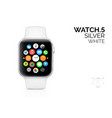 smart watch with white bracelet realistic vector image vector image