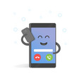 smartphone talking on cell concept cute cartoon vector image vector image