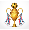 Soccer golden award trophy and ribbon vector image vector image