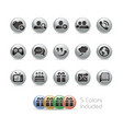 social communications icons - metal round series vector image vector image