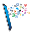 Tablet pc and icons business vector image
