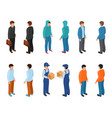 trendy isometric young creative people with vector image vector image