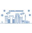 usa alabama birmingham winter city skyline vector image vector image