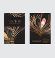 wedding cards with luxury gold peacock feather vector image vector image