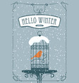 winter banner with red bird in the cage vector image vector image